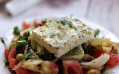A Cretan Greek salad topped with fetta cheese