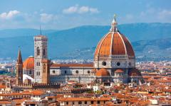 The Cathedral of Santa Maria del Fiore at midday in Florence, Italy