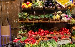 Assortment of fresh vegetables in a Florence, Italy market