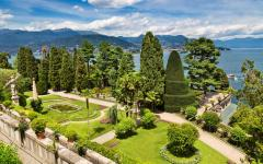 View of the beautiful gardens of the Isola Bella Island in the Lago Maggiore, Italy