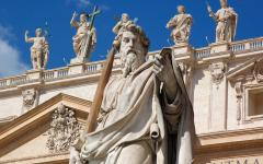 Statues of the Vatican City Saints on top of St. Peter's Basilica in Rome, Italy