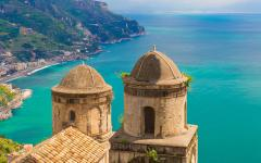 View from Villa Rufolo of the Amalfi Coast, Italy and the Mediterranean Sea