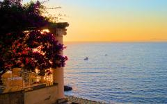 View of the Mediterranean Sea from a terrace in Sorento, Italy during sunset