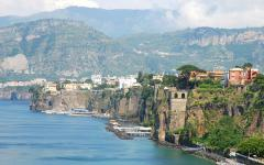 View of the Sorrento coastline in Italy