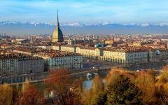 View of Turin, Piemonte, Italy with the Mole Antonelliana standing high over all other buildings