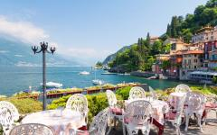 View from a restaurant terrace of Varenna Town on Lake Como, Italy