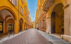 Ancient buildings on the street of Modena.