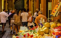 Fruits and vegetables market in Bologna, Italy.