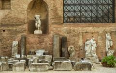 Ruins of the Baths of Diocletian in Rome, Italy.