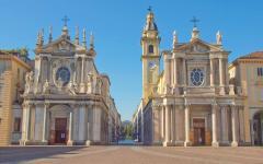 The Piazza San Carlo Square in Turin, Italy