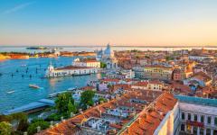 Top view of Basilica di San Marco in Venice, Italy
