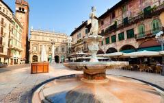 View of the Piazza Delle Erbe center in Verona, Italy