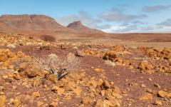 The rocky and sandy terrain of Damaraland, Nambia, Africa
