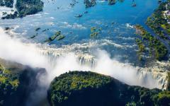 Stunning aerial view of Victoria Falls in Zambia, Africa