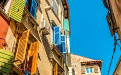 Colorful shutters in Rovinj, Croatia.