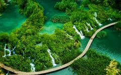 An aerial view of Plitvice National Park, Croatia.
