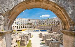 The only remaining Roman amphitheatre to have four side towers in Pula, Croatia.