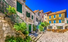 The Old Town Square of Stari Grad on Hvar island.