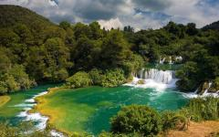 Waterfalls in Krka National Park in Croatia.