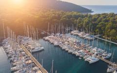 Sail boats in the marina at Palmižana, Croatia.