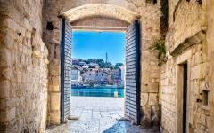 The city gate in Trogir, Croatia.