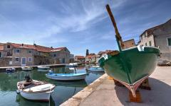 Colorful boats in the little port of Vrboska on the north coast of Hvar island.
