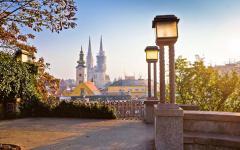 Zagreb, the capital of Croatia, at sunrise.