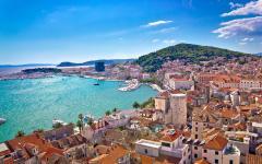 View of Split harbor from Marjan Hill, Croatia.