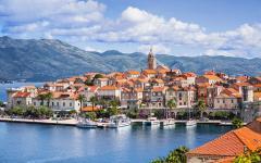 Korčula town on the island of Korčula along the Dalmatian Coast.