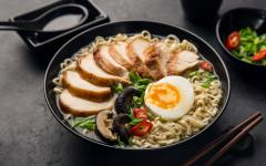 Japan Tour - Bowl of Ramen Served with Chicken, Mushrooms, and Egg