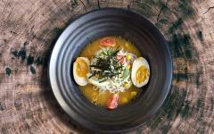 Japan Tour - Vegetarian Ramen Served in Bowl with Log Background