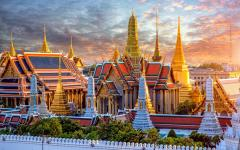 The Grand Palace and Wat Phra Kaew, Bangkok, Thailand.