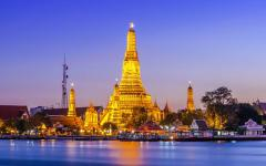Prang of Wat Arun, a world famous symbol of Bangkok, Thailand.
