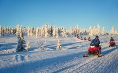 Snowmobile safari in Lapland.