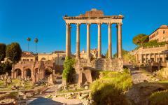 Panoramic image of Roman forum in Rome, Italy.