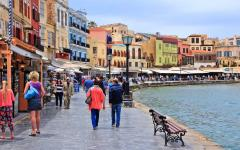 View of many tourists visiting the old town of Chania, Crete, Greece