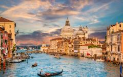 View of the grand canal and Santa Maria della Salute in Venice, Italy.