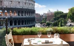 A view of the Colosseum from Aroma restaurant in Rome. Credit: Courtesy Aroma/Hotel Palazzo Manfredi