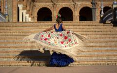spain seville flemenco dancer in traditional dress