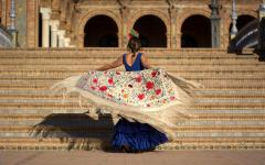 spain seville flamenco dancer in the plaza de espana