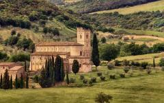 The Abbey of Sant'Antimo in the comune of Montalcino, Tuscany.