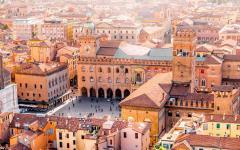 Cityscape View of Maggiore Square, Bologna, Italy.