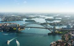 aerial photo of the bridge and the rocks in sydney