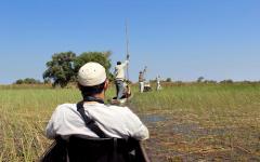 View of a Mokoro Canoe tour in the Okavango Delta in Botswana, Africa