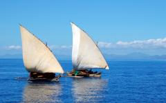 Traditional dhow boats off the coast of Mozambique.