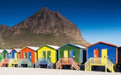 Colorful cabins on Muizenberg Beach in Cape Town.