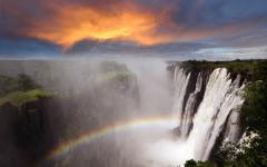 View of the gorgeous Victoria Falls at sunset in Zambia, Africa