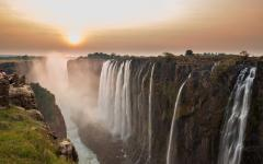 Victoria Falls at sunset.
