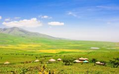 A landscape between the Ngorongoro Crater and the Serengeti National Park.