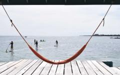Relaxing hammock and private dock on Ambergris Caye.